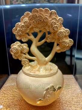 LuvDee Patung Pajangan 24K Pot pohon coin kado souvenir imlek