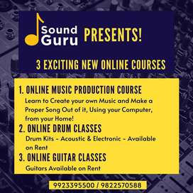 Online Music Class for Guitar, Drum and Music Production