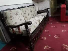 5 seater wooden sofa with cushions just like new for sale