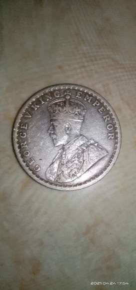 1917 old british indian silver coin
