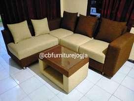 Sofaa L  Putuss ,  warna Kombinasi kain bludru