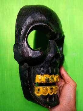 Skull face, bahan kayu tebal