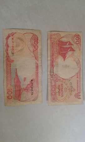 Uang kertas lama pecahan 100 rupiah thn 1992