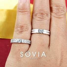 Menjual cincin nikah&tunangan emas putih mix palladium