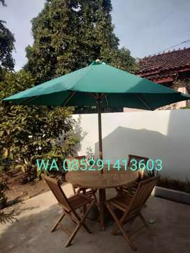 Meja Payung Lipat Taman Tenda Outdoor Kafe Minimalis Hotel Kayu Jati