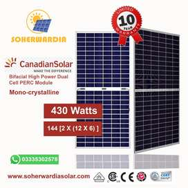 430 Watts Home Bifacial Canadian Solar Panel Price