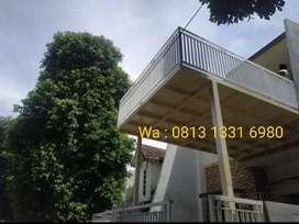 Kanopi minimalis rangka hollow atap kaca,alderon,polycarbonate,spandek
