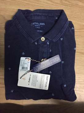 Indigo denim polo T-Shirt
