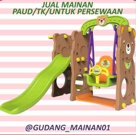 Mainan Indoor Playground Indoor Perosotan, Ayunan Dengan Ring Basket