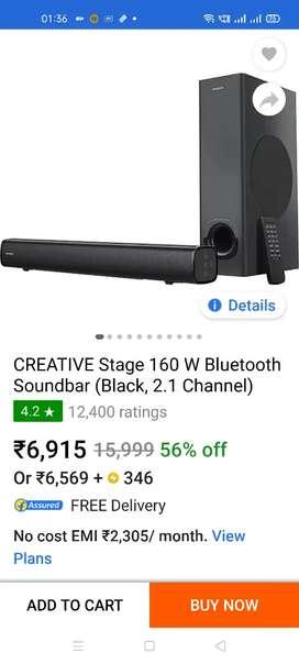 CREATIVE stage 160W soundbar bluetooth 2.1 speaker with flipkart bill