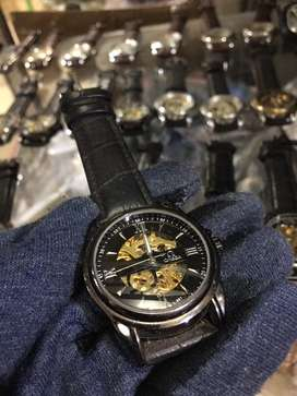 Jam tangan omega kinetic skeleton leather strap 3,8 mm