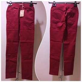 Red Ankle Pants - Celana Bahan Pinggang Karet size S