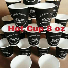Hot paper cup 8 oz + custom logo sablon