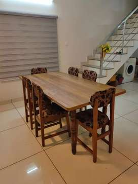 6ftx3ft Teakwood frame Dining Table with 6 teakwood chairs