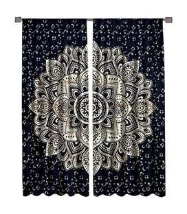 Window Hanging Home Decoretive Cotton Curtain Silver Black 90x84 inch