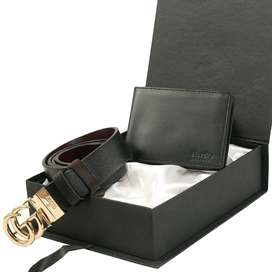 Gift Box Of 2 Gucci Belt & Ferragamo Leather Belt With Leather Wallet