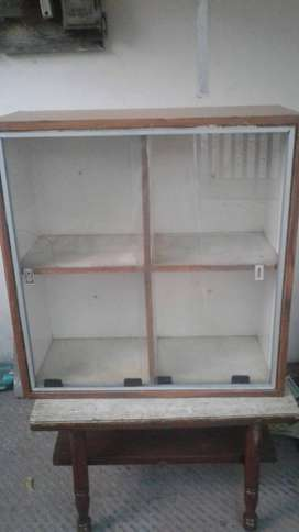 Wooden Wall Shelf with glass slider