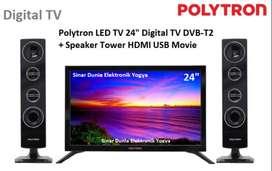 Polytron LED TV 24inch DigitalTV Cinemax Speaker Tower DVB-T2 24TV1855