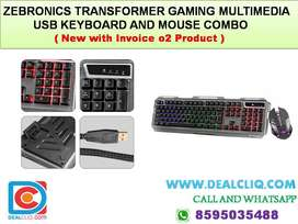 ZEBRONICS TRANSFORMER GAMING MULTIMEDIA USB KEYBOARD AND MOUSE COMBO