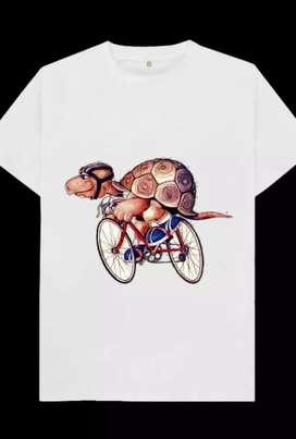 Kaos gambar kartun kura2 ngayuh sepeda, 1 desain hnya untuk 1 pembeli
