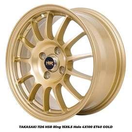 Velg racing mobil Ayla ring 15 tipe Takasaki HSR warna gold