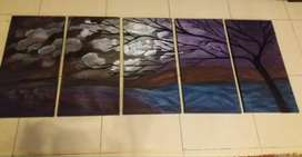 5 pieces handmade Canvas painting
