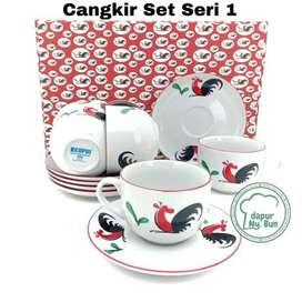 Paket EKSKLUSIF Box AYAM JAGO6 Pasang Cangkir+Saucer Ayam Jago Seri 2