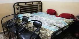 """iron bed 6×5.5 with 4"""" Master mattressk & 4 iron chairs"""