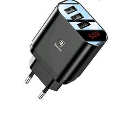 Baseus 3Ports USB Charger For Iphone,Samsung, Xiaomi led display