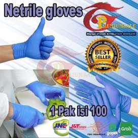 Sarung tangan nitrile isi 100pcs (50pasang) no box