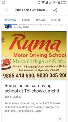 Ruma ladies Profesional car driving school at Tolichowki, Attapur, hyd
