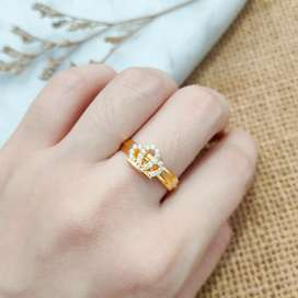Ring White Crown Jewellery Fashion Gold Cincin Toko Emas aslii