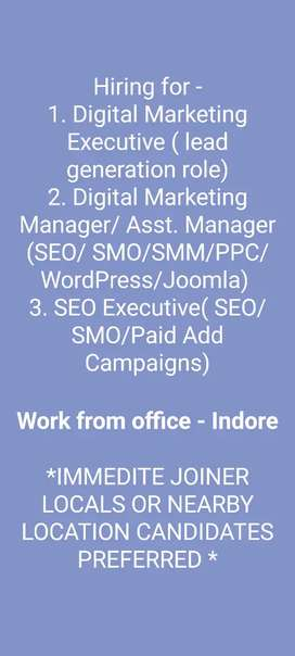 Digital Marketing, SEO - Fresher & Exp required