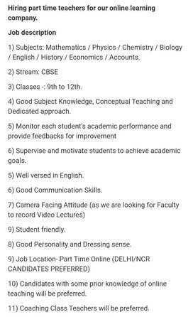 Urgently  Require Online Part-time Teacher For Physics & Mathematics