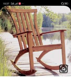Wood rocking chair with aut polis