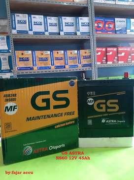 Aki mobil murah GS MF NS60 12V 45 Amper