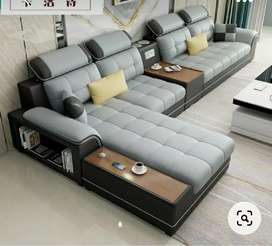 Latest sofa set with table and puffy