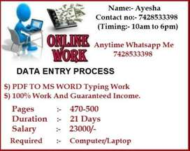 Golden Opportunity For Earning Highest Income --  Typing Work