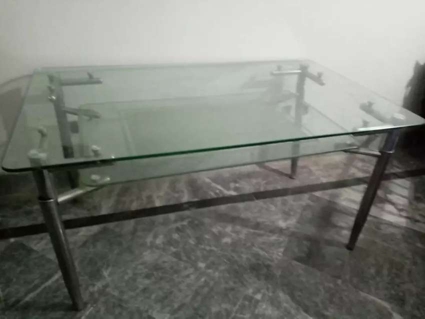 Dining table with thick glass 0