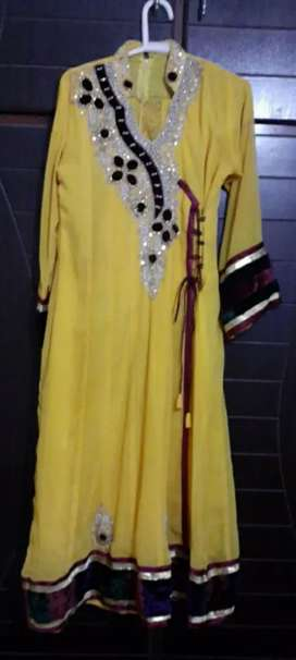 Yellow long frock for mehndi/Mayo for 19 to 21