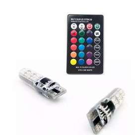 Car parking lights 2PCS RGB T10 Bulb With Remote Controller