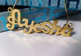 Name plated lockets and neckless in one karat gold