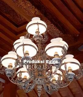 Lampu Gantung Antik Klasik Cabang 9 hias Dekorasi Joglo gebyok
