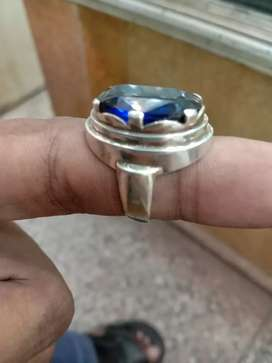 Silver gold ring with Neelam stone