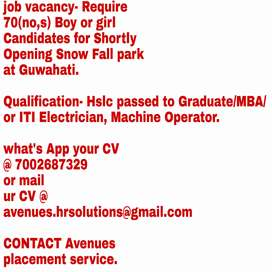 Urgently Require Male/Female Candidates for Snow park at lokhra