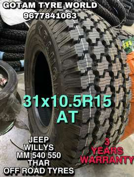 TYRES JEEP WILLS MAHINDRA THAR MM550 MM540 OFF ROAD MT TYRES TUBELESS