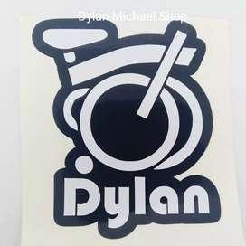 Stiker vinyl custom nama sepeda lipat Brompton