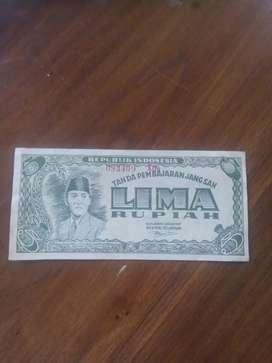 Uang Sukarno 5 Rupiah 1947