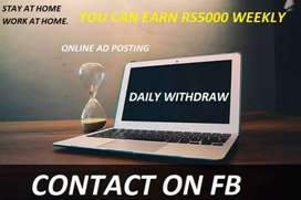 Needs male and female for ads posting and earn Rs. 5500 weekly