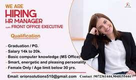Hr Manager, Front Office Executive
